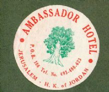 Collectable Hotel luggage label Jerusalem Hashemite kingdom of Jordan  #634